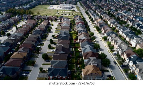 Aerial View Of Subdivision Homes In Vaughan Ontario