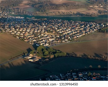 aerial view of a subdivision in the village of Beynes in the department of Yvelines in France