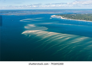 aerial view of submarine sandbars at the Banc d'Arguin at Arcachon in France
