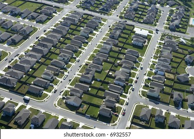 Aerial view of suburb in Bay City, Texas.