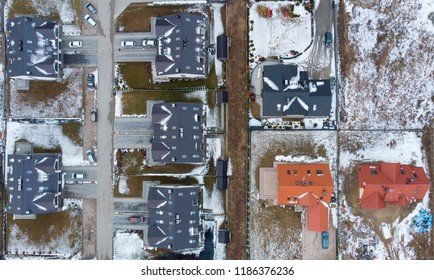 Aerial view of suburb near Gdansk (Poland) in winter.