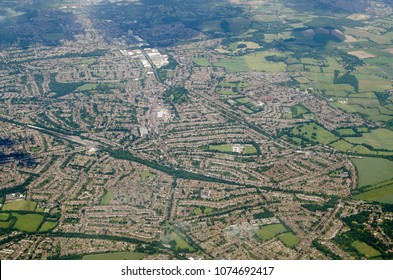 Aerial view of the suburb of Orpington in the London Borough of Bromley.  Viewed from a plane on a sunny summer afternoon.