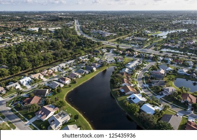 aerial view of suburban community in palm beach county florida