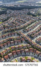 Aerial view of suburban homes in the Porter Ranch neighborhood of Los Angeles.