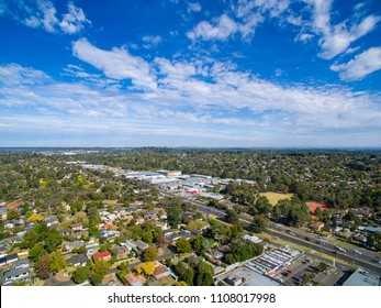 Aerial view of suburban houses from outer eastern suburb of Ringwood in Melbourne, Australia