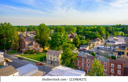 Aerial view of suburban houses and sunset sky - West Chester, Pennsylvania, USA
