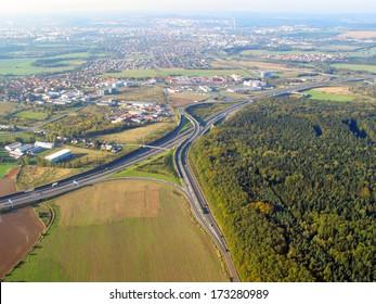 Aerial view of suburban landscape near city Pilsen, Czech republic, Eu.