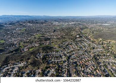 Aerial view of suburban Newbury Park in Thousand Oaks and Ventura County, California.