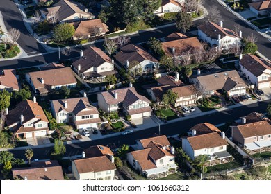 Aerial view of suburban residential streets and houses near Los Angeles, California.