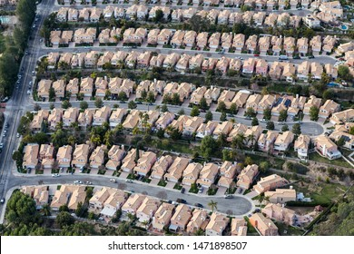 Aerial view of suburban Stevenson Ranch homes and cul-de-sac streets in Los Angeles County, California.
