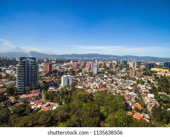 An aerial view of suburbs and apartment buildings in the city of Guatemala, Central America