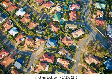 Aerial view of suburbs near Brisbane, Australia