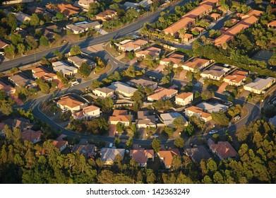 Aerial view of suburbs near Brisbane, Australia