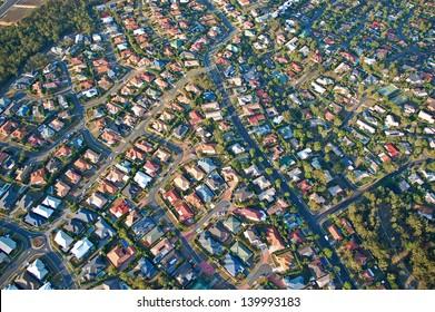 Aerial view of the suburbs roofs near Brisbane, Australia