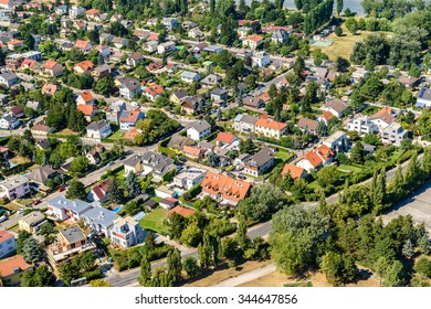 Aerial View Of Suburbs Roofs In Vienna, Austria.