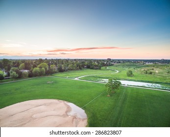 Aerial view of succer and baseball fields at Village Greens Park, Colorado.