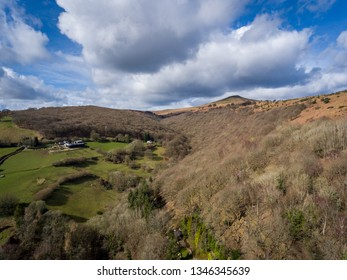 Aerial View of Sugar Loaf (596M), Abergavenny Black Mountains in Brecon Beacons, Wales, UK