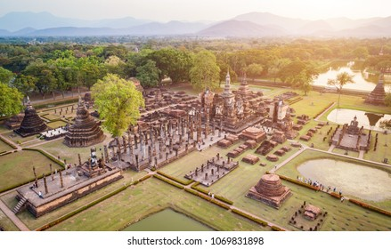 Aerial view. Sukhothai Historical Park in Sukhothai province Northern of Thailand.
