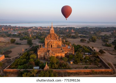 Aerial view of the Sulamani Temple in the ancient city of Bagan in Myanmar (Burma). Dates from 1105AD.