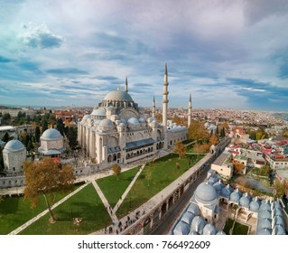 Aerial view of Suleymaniye Mosque by Master Ottoman Architect Sinan in Istanbul Turkey