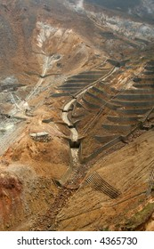 Aerial view of a sulfur quarry in Hakone, Japan