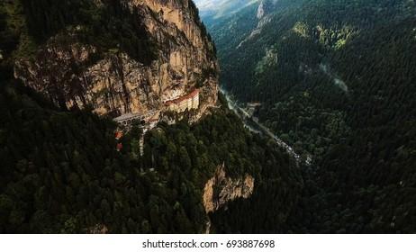 Aerial View Sumela Byzantine Greek Orthodox Monastery In Trabzon Turkey