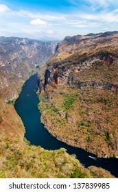 Aerial view of Sumidero Canyon near Tuxtla Gutierrez in Chiapas, Mexico