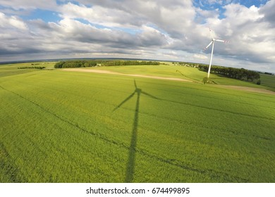 Aerial view of summer field with wind turbines, Poland