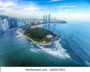 Aerial View of Summer Haeundae Sea, Busan, South Korea, Asia