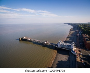 Aerial view of Summer at Penarth Pier. Penarth is a coastal town in South Wales, UK, near Cardiff the capital of Wales. The pier is a fine example of Victorian architecture
