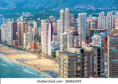 Aerial view of summer resort Benidorm, Spain with beach and famous skyscrapers. City has three major beaches of the maximum quality standard
