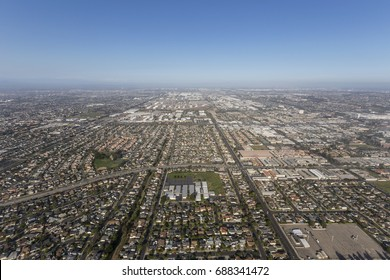 Aerial view of summer smog above Torrance and Los Angeles, California.