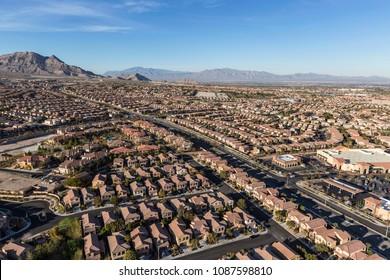 Aerial view of Summerlin neighborhood in Las Vegas, Nevada.
