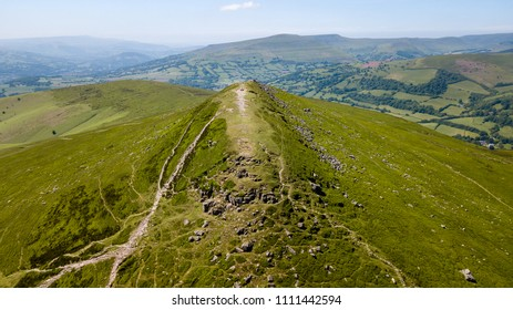 Aerial view of the summit of the Sugar Loaf mountain in South Wales, UK