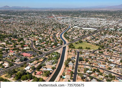 Aerial view of the Sun Circle Trail along the Consolidated Canal in Mesa, Arizona