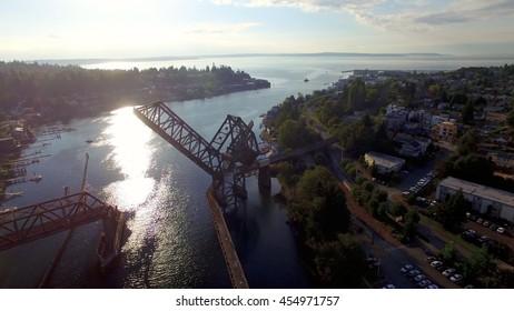 Aerial View Sun Reflection Near Salmon Bay Bridge Ballard, Seattle, Washington