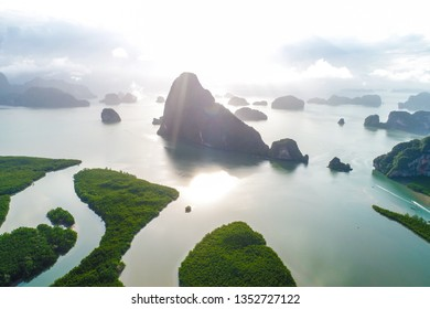 Aerial view sun rise in green mangrove nature tropical rainforest to the bay of sea