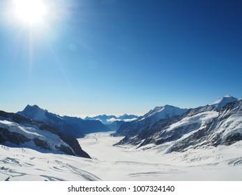 Aerial view sun rise of winter highest landscape mountain range