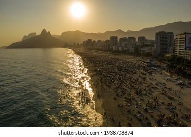 aerial view  Sunny day at Arpoador beach, Rio de Janeiro, Brazil.