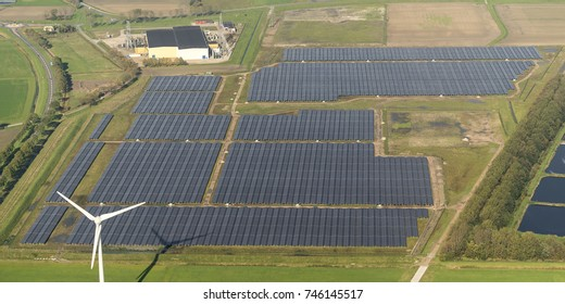 Aerial view of sunport in Delfzijl, Groningen. It is the largest park with solar cells in The Netherlands.