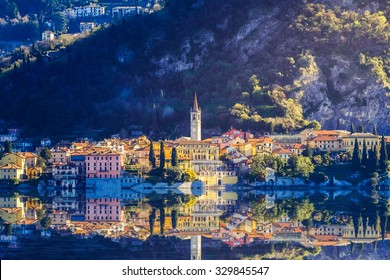 Aerial view in sunries of the village in Lake Como - Italy