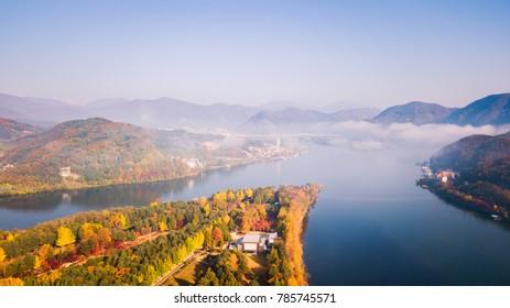 Aerial view. Sunrise Autumn at Nami island ,Seoul Korea