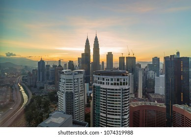 Aerial view of sunrise at Kuala Lumpur city skyline