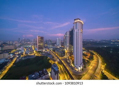 Aerial view of sunrise at Kuala Lumpur downtown