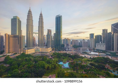 Aerial view of sunrise at Kuala Lumpur city centre.