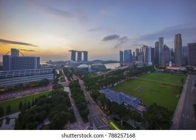 Aerial view of sunrise at Marina Bay Singapore city skyline