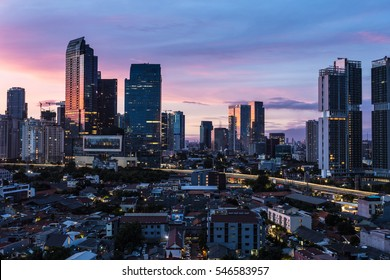 Aerial view of sunrise over the Kuningan business district of Jakarta in Indonesia capital city.