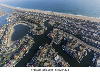 Aerial view of Sunset Beach waterfront homes in Orange County California.