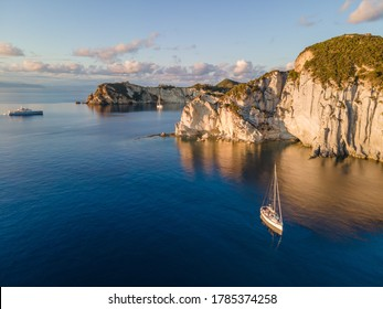 Aerial view at sunset of the beautiful island of Ponza