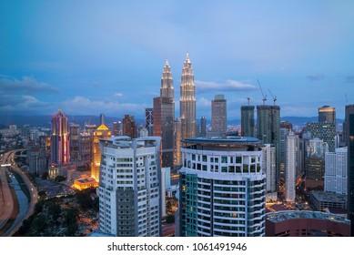 Aerial view of sunset at Kuala Lumpur city skyline